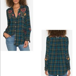 JOHNNY WAS | Plaid Embroidered Button Down Top